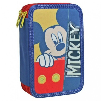 Estojo Escolar Triplo Mickey Button