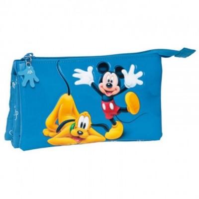 Estojo triplo Mickey & Pluto