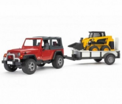 Jeep Wrangler c/ reboque + mini carregadora Bruder