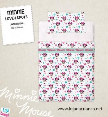 Jogo Cama Lençóis Minnie Love & Spots