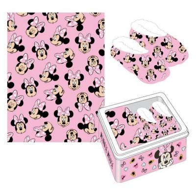 Kit Pantufa e Manta Minnie Mouse