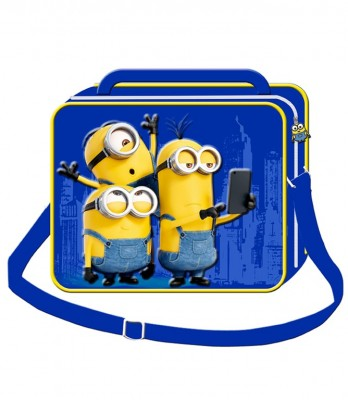 Lancheira Escolar Minions Azul 3D