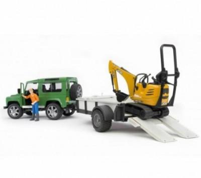 Land Rover Defender c/ reboque + micro escavadora Bruder