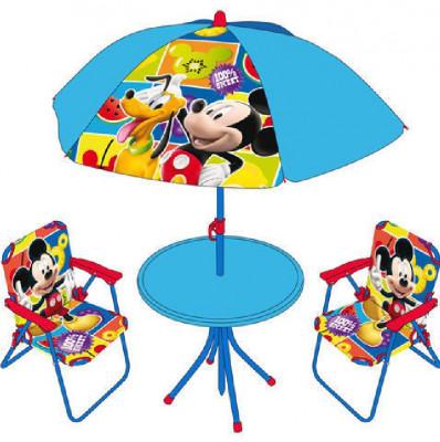 Mesa, cadeiras e chapéu sol Mickey