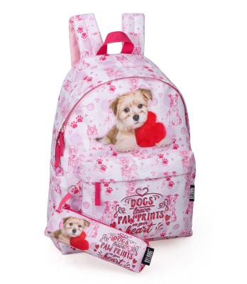 Mochila Escolar + Estojo Dogs Delbag