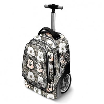 Mochila escolar Premium 50cm c/ trolley e pega telescópica Mickey-Oh Boy