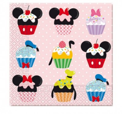 Pack de 20 guardanapos Cupcakes  Mickey Disney