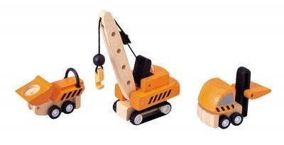 Plan Toys - 3 Camiões Construção Madeira
