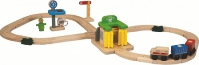 Plan Toys - Conjunto carris e estação de lavagem