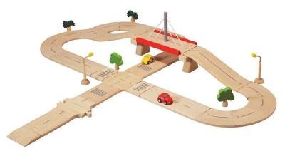 Plan Toys - Pista Carros 38Peças Madeira