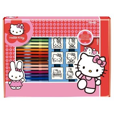 Set carimbos + marcadores Hello Kitty