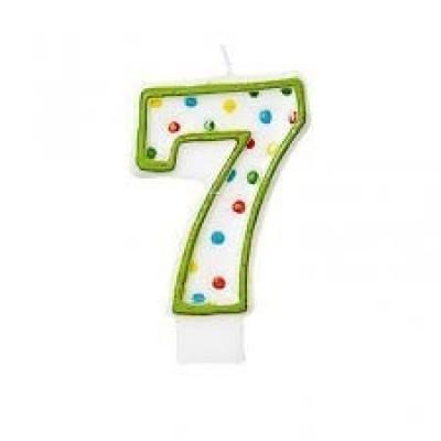 Vela bolinhas Nº 7 Verde - 7,5cm