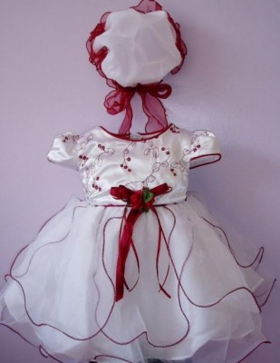 Vestido de Cerimónia para Menina Branco e Cor de Vinho