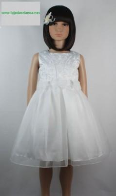 Vestido de Cerimónia para Menina Flor Bordado