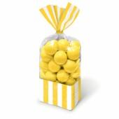 10 Bolsas Doces Riscas Amarelas