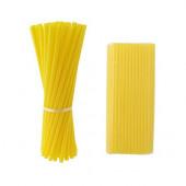 100 Palhinhas Plástico Amarelas