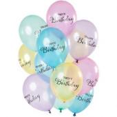 12 Balões Crystal Colored Birthday
