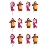 12 Mini Toppers Masha e o Urso