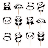 12 Mini Toppers Panda