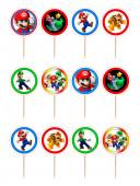 12 Mini Toppers Super Mário