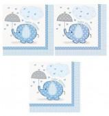16 Guardanapos Azul e branco Baby Shower 33cm