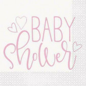 16 Guardanapos Baby Shower Rosa