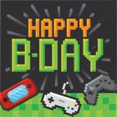 16 Guardanapos Gaming Party Happy Birthday