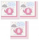 16 Guardanapos Rosa e branco Baby Shower 33cm