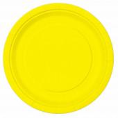 16 Pratos Amarelos Neon 22 cm
