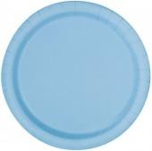 16 Pratos Azul claro redondos 22cm