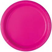 16 Pratos Rosa Neon redondos 22cm