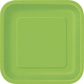 16 Pratos Verde Lima Quadrados 18cm