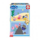2 Puzzle madeira Peppa Pig 25 peças