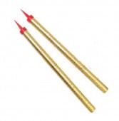 2 Velas Douradas Estrelas Foguete 25cm