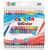 24 Lápis Triangulares de Cor 48 Cores Carioca Bicolor