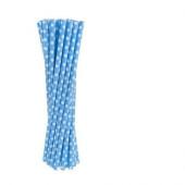 24 Palhinhas Azul Bolinhas