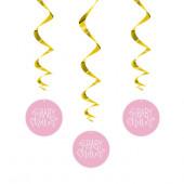 3 Espirais Decorativas Baby Shower Rosas