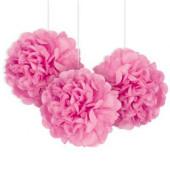 3 Mini Bolas Pom Pom Decorativas Rosa
