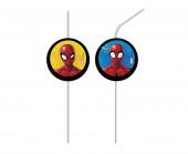 4 Palhinhas Papel Spiderman