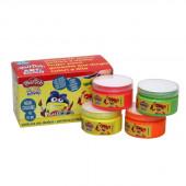4 Potes Tinta Pintura Dedos Cores Neon Play Doh 70ml