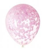 5 Balões Confettis Corações Rosa Claro