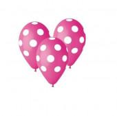 5 Balões látex rosa fúchsia com bolinhas