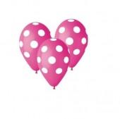 5 Balões látex rosa fuscia com bolinhas