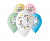 5 Balões Latex Unicórnio e Arco Íris