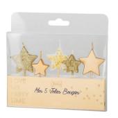 5 Velas Estrelas Douradas Glitter