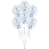 6 Balões Confettis Azuis 11