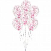 6 Balões Confettis Rosas 11