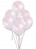 6 Balões Confettis Rosas