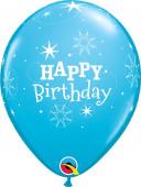 6 Balões Happy Birthday Azuis
