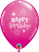 6 Balões Happy Birthday Rosas